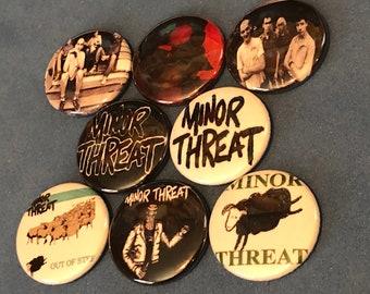 """8 Brand New 1"""" """"Minor Threat"""" Button Set"""