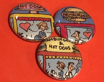 "1 of a kind 1"" Comic Book Button Love Set - Three Buttons"