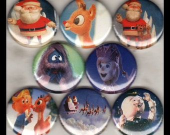 """8 Brand New 1"""" Buttons """"Rudolph Christmas"""""""