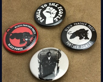 """4 Brand New 1.5"""" """"Black Panther Party"""" Button Set"""