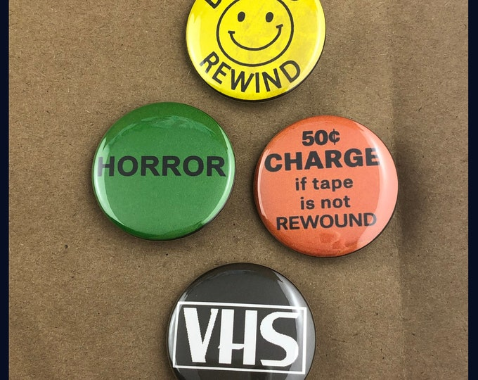 "Featured listing image: 4 Brand New 1.5"" ""Rental Store"" Button Set"