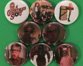 """8 Brand New 1"""" """"A Christmas Story"""" Buttons Set 2"""