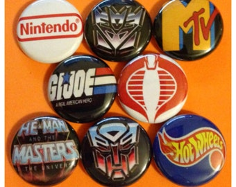 "8 Brand New 1"" ""80s Memories"" Button Set"