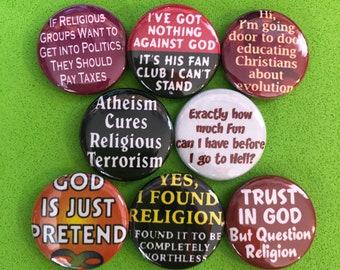 """8 Brand New 1"""" """"Anti Religion"""" Button Set"""