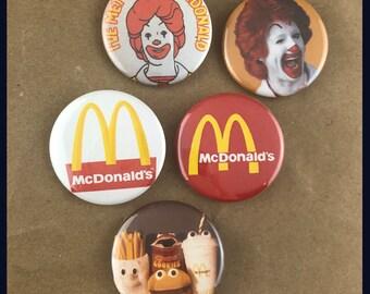 "5 Brand New 1.5"" ""McDonald's"" Button Set"