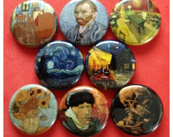 "8 Brand New 1"" ""Vincent Van Gogh"" Button Set"