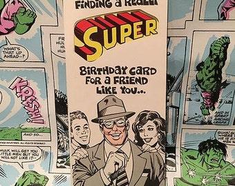 Vintage Super Friend Birthday Greeting Card