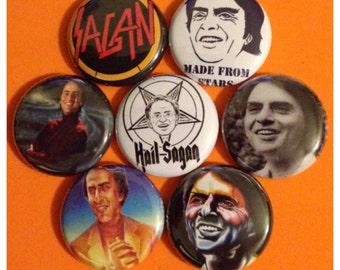 """7 Brand New 1"""" """"Carl Sagan"""" Button Set Cosmos"""
