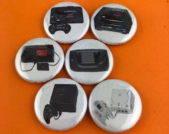 "6 Brand New 1"" ""Sega System"" Buttons Set"