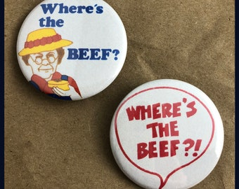 """2 Brand New 1.5"""" """"Where's the Beef"""" Button Set"""