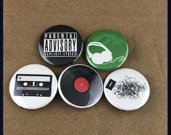 "5 Brand New 1.5"" ""Music"" Buttons Set"