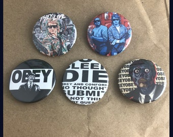 """5 Brand New 1.5"""" """"They Live"""" Buttons Set"""