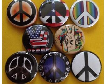"8 Brand New 1"" ""Peace"" Button Set"