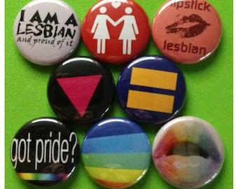 "8 Brand New 1"" ""Lesbian Pride"" Button Set"