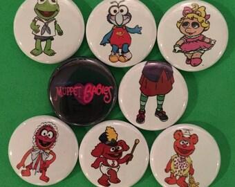 """8 Brand New 1"""" """"Muppet Babies"""" Buttons Set"""