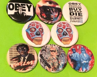 """8 Brand New 1"""" """"They Live"""" Button Set"""