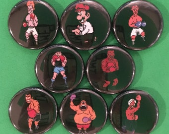 """8 Brand New 1"""" """"Mike Tyson's Punch Out"""" Buttons Set"""