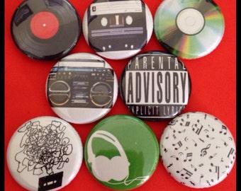 "8 Brand New 1"" ""Music"" Button Set"