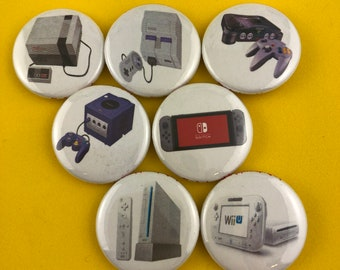 "7 Brand New 1"" ""Nintendo System"" Buttons Set"
