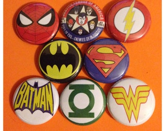 "8 Brand New 1"" ""Superhero"" Button Set"