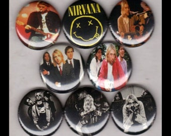 "8 Brand New 1"" ""Nirvana"" Button Set"