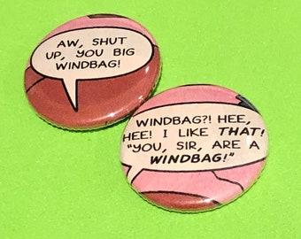 "1 of a kind 1"" Simpsons 2 Comic Book Buttons - Windbag Set"