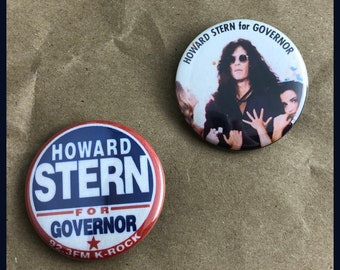 """2 Brand New 1.5"""" """"Howard Stern for Governor"""" Button Set"""
