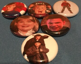 """6 Brand New 1"""" """"Home Alone"""" Buttons Set"""