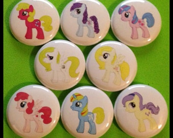 "8 Brand New 1"" ""My Little Pony"" Button Set"