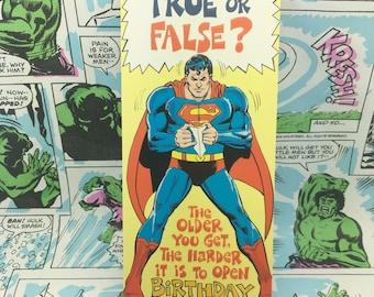 Vintage Superman Hard to Open Birthday Card