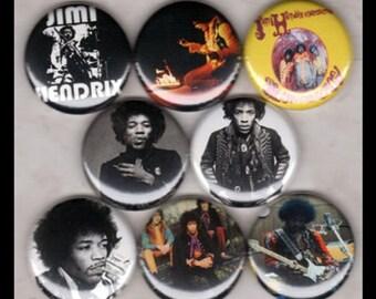 "8 Brand New 1"" ""Jimi Hendrix"" Button Set"