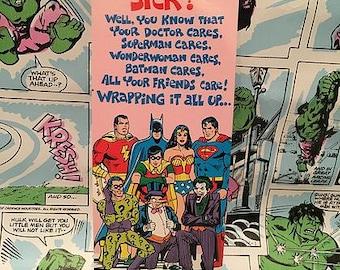 Vintage Super Friends Sick Greeting Card