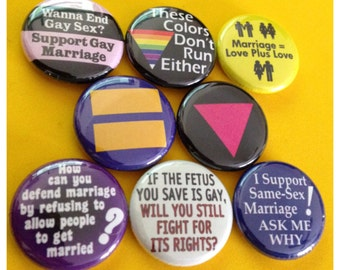 """8 Brand New 1"""" """"Gay Rights"""" Button Set"""