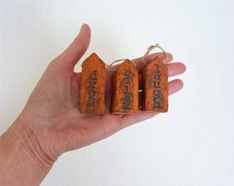 Message house miniature house little ceramic house tiny house dream gift for her hanging mini house birthday gift housewarming gift