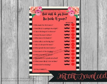 instant download bridal shower game bride and groom game couples game wedding shower game who knows the bride and groom shoe game