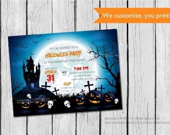 kids halloween invitation printable diy halloween etsy