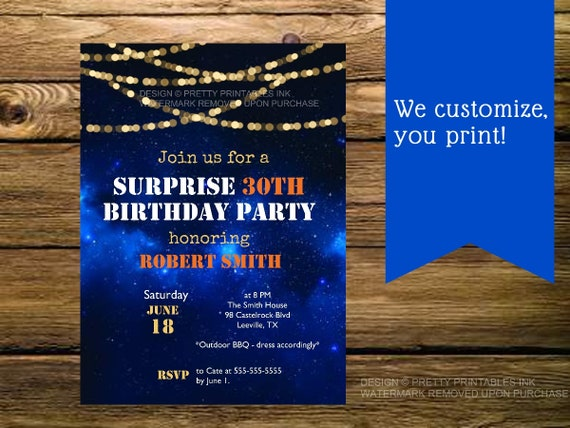 Printable Male 30th Birthday Invitation