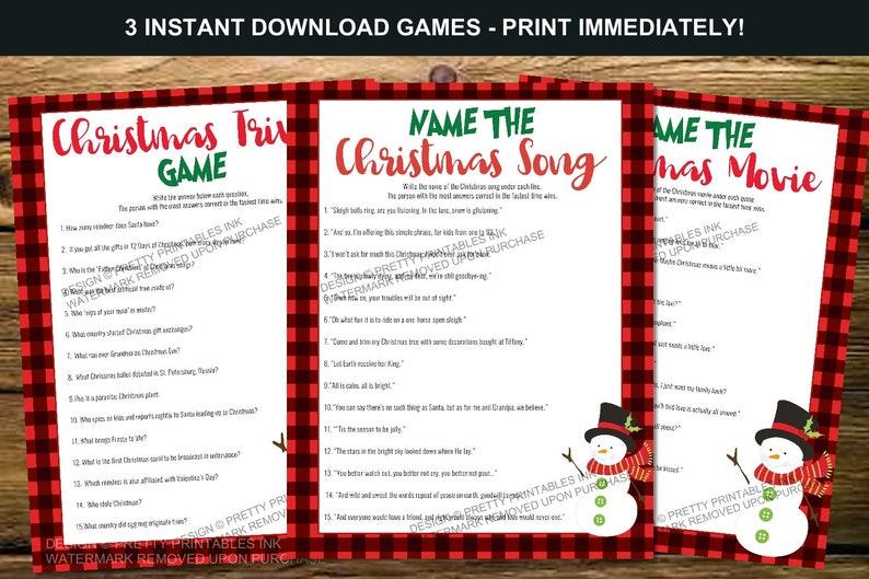 Printable Christmas Games Bundle Instant DownloadChristmas image 1