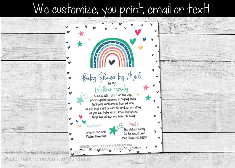 Baby Shower by Mail Invitation  Social Distance Baby Shower  image 0