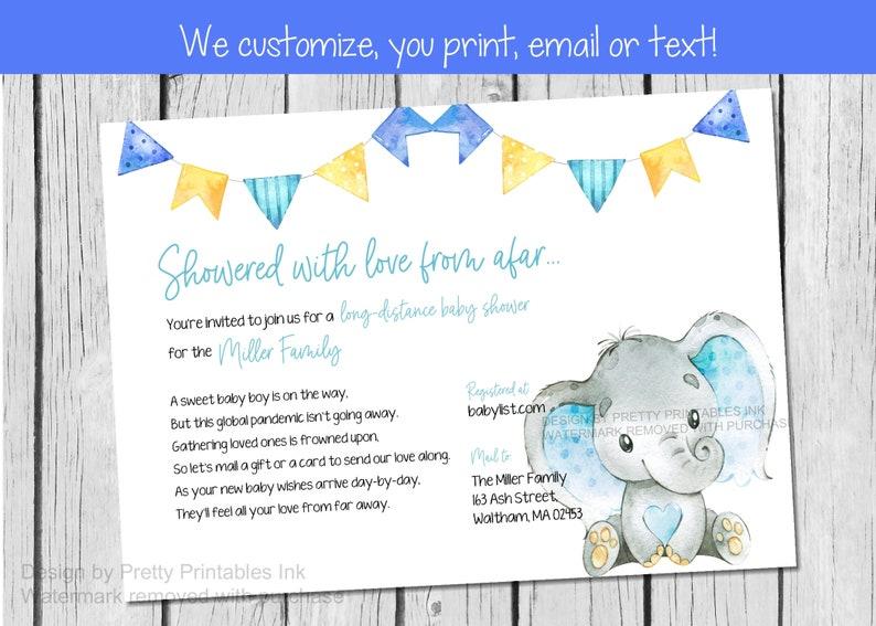 Boy Baby Shower By Mail Invitation Printable  Boy Elephant image 0