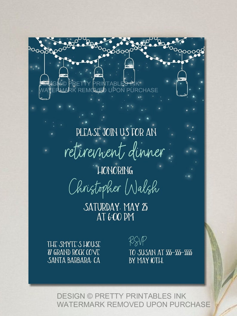 picture regarding Free Printable Retirement Invitations identify Guide Descargar PRINTABLE Retirement Supper Invitation
