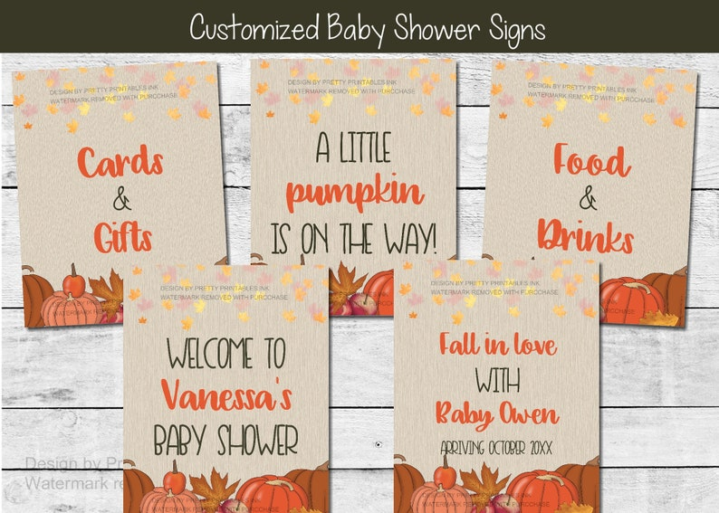 Fall baby shower signs fall baby shower decorations fall image 1