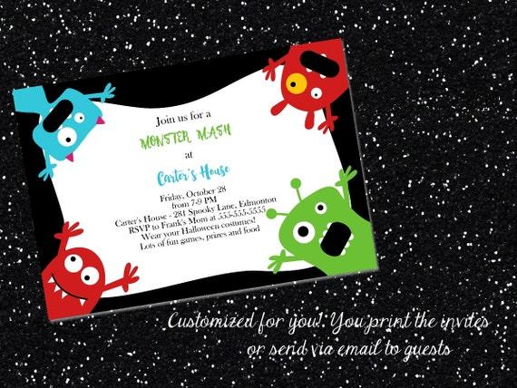 printable halloween party invitation monster halloween invitation