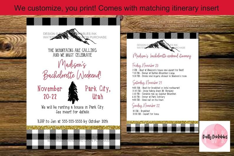 Mountain bachelorette weekend invite ski bachelorette invite image 0