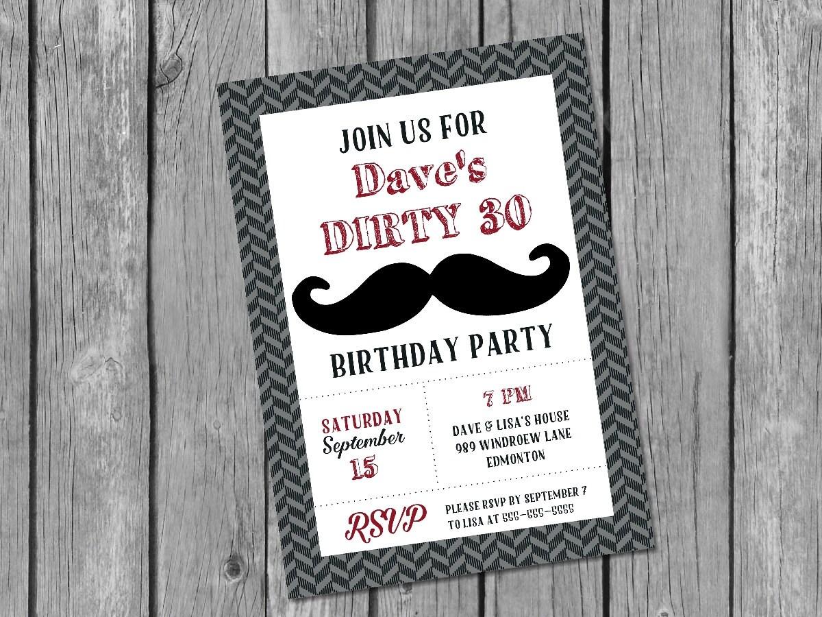 Printable Male 30th Birthday Invitation Dirty 30