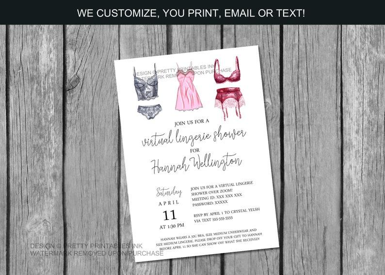 Virtual Lingerie Shower Invitation  Virtual Bridal Shower image 0