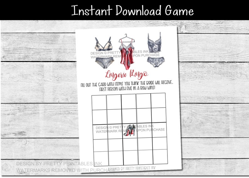 INSTANT DOWNLOAD lingerie bingo game  classy lingerie game  image 0