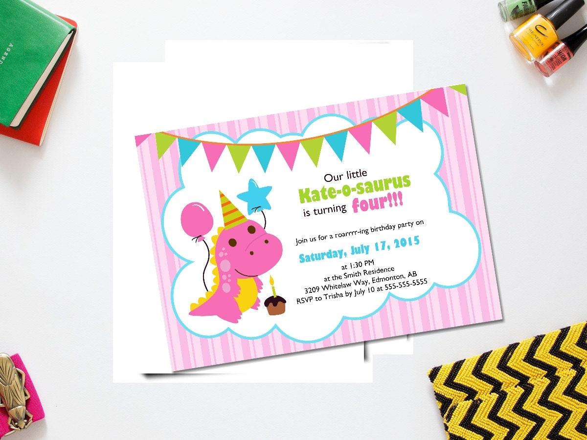 Dinosaur girl birthday invite/ girl dinosaur birthday / | Etsy