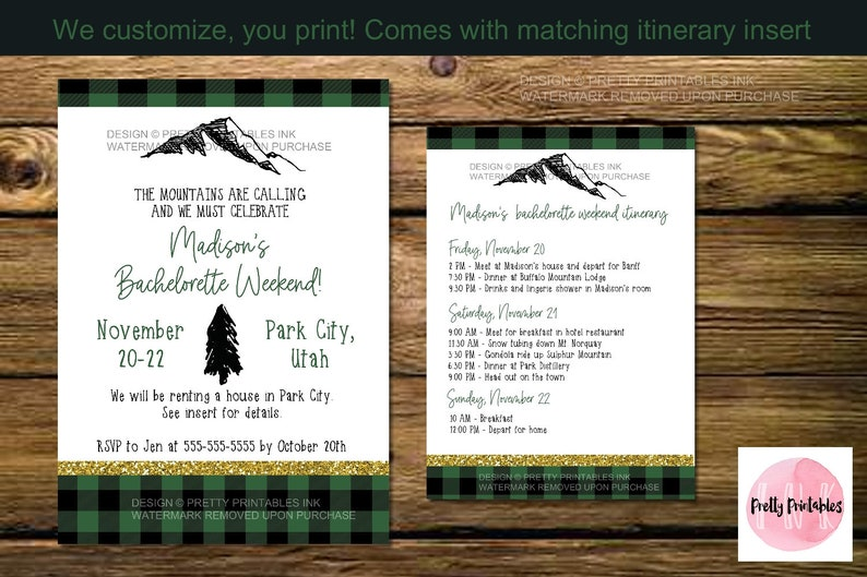 Mountain bachelorette weekend invitation and itinerary image 0