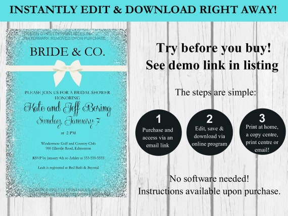 Bride And Co Instant Edit Download Bridal Shower Invite Etsy